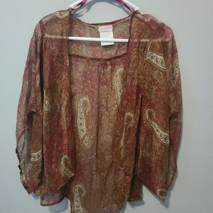 band of gypsies burgundy patterned kimono size M